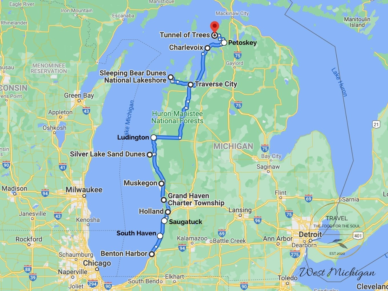 West Michigan Attractions Map